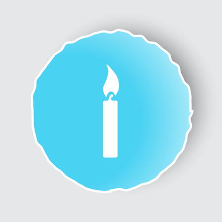 Blue App Button With Candle Light Icon On White. Stock Vector   65419421