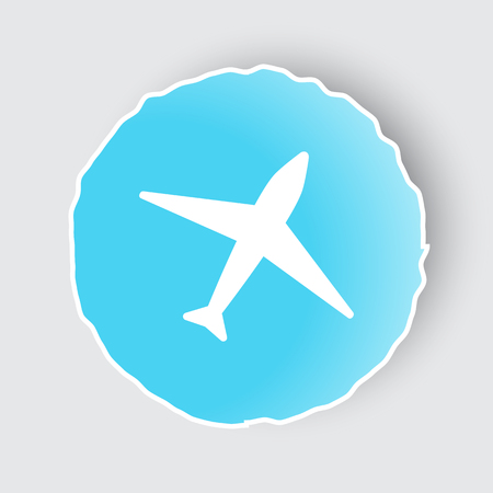 Blue app button with Airplane icon on white.