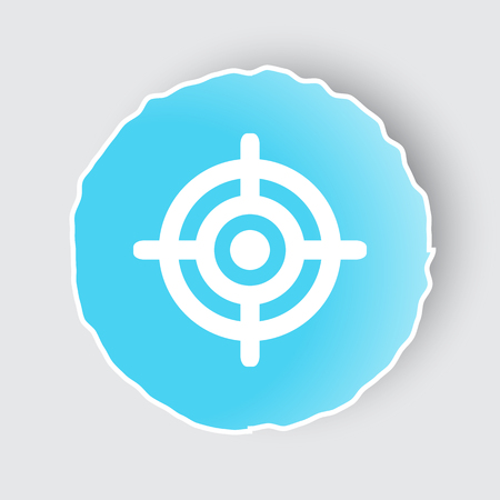 Blue app button with Target icon on white.