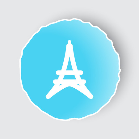 Blue app button with Eiffel Tower icon on white. Illustration