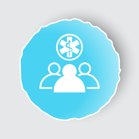 lack: Blue app button with Medical Team icon on white.