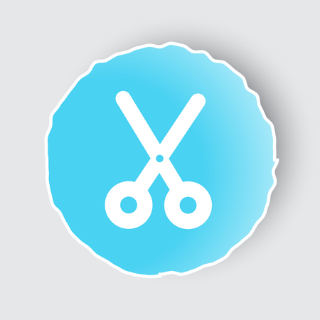 Blue app button with Scissors icon on white.