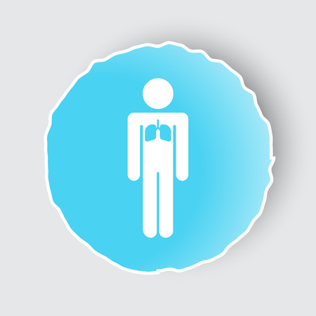 Blue app button with Lungs icon on white. Illustration