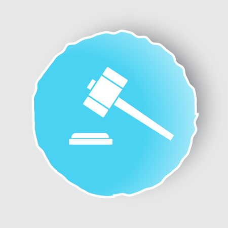 judgments: Blue app button with Law Gavel icon on white.