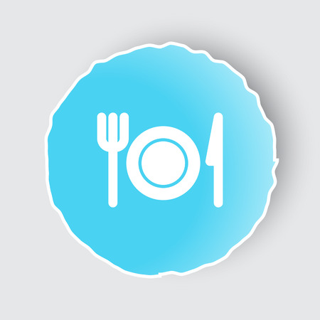 Blue app button with Dinner icon on white. Illustration