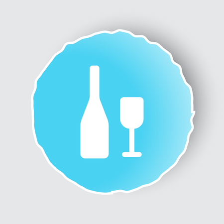 lifestyle dining: Blue app button with Wine icon on white.