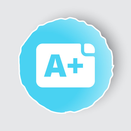 assignments: Blue app button with Rating icon on white. Illustration