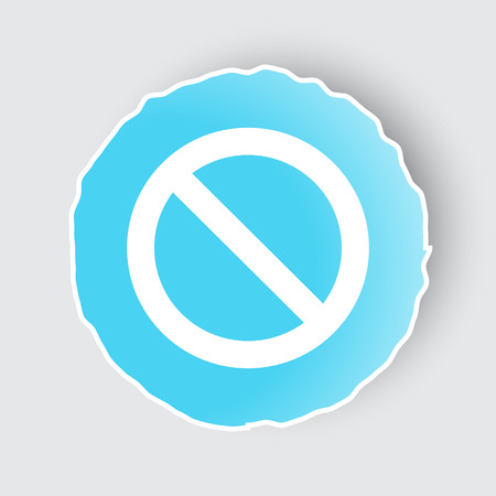 Blue app button with Forbidden icon on white.