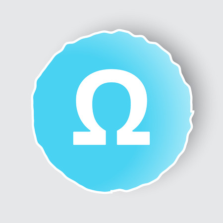 Blue app button with Omega icon on white.