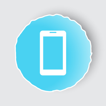 mobile app: Blue app button with Mobile Phone icon on white. Illustration