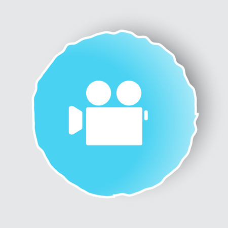 Blue app button with Video Camera icon on white.
