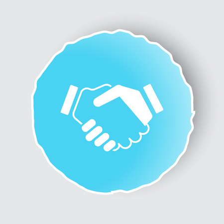 Blue app button with Handshake Agreement icon on white.