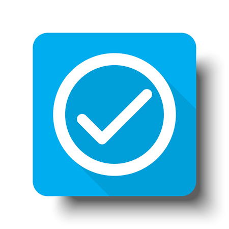 confirm: White Confirm icon on blue web button Illustration