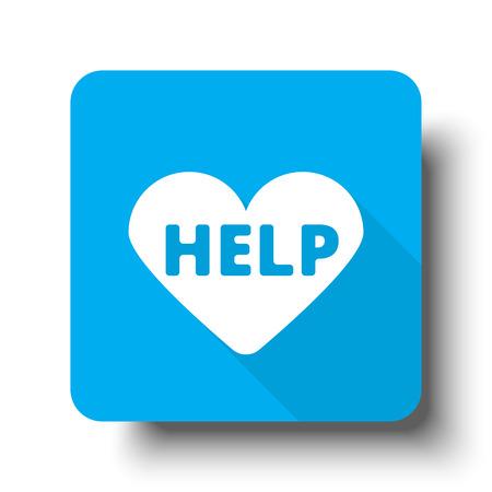 White Defibrillator  icon on blue web button