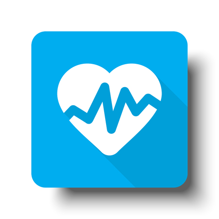 White Heart Rate Pulse icon on blue web button