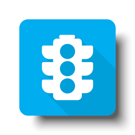 White Traffic Light icon on blue web button Illustration