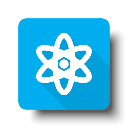 fission: White Nuclear icon on blue web button Illustration