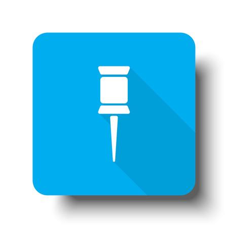white pushpin: White Pushpin icon on blue web button