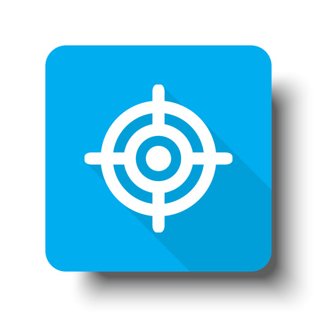 White Target icon on blue web button