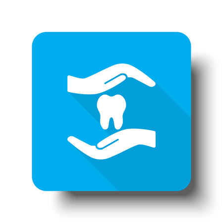 orthodontist: White Dental Care icon on blue web button