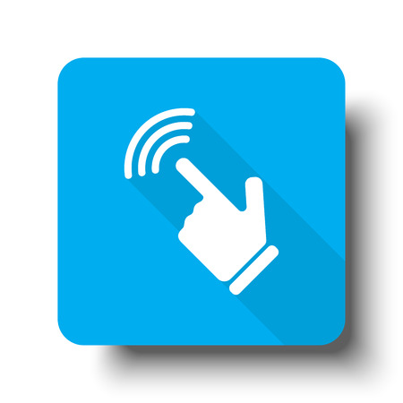 White Touch Screen icon on blue web button
