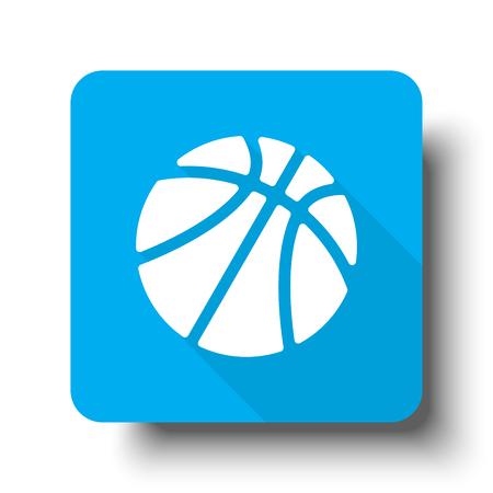 White Basketball icon on blue web button Ilustração