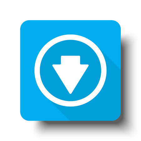 arrow down icon: White Arrow Down icon on blue web button