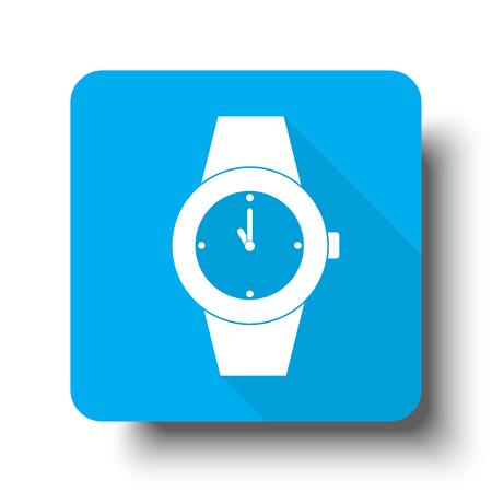 wrist: White Wrist Watch icon on blue web button Illustration