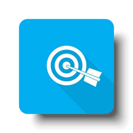 White Target icon on blue web button