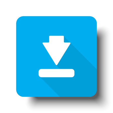 White Download icon on blue web button Illustration