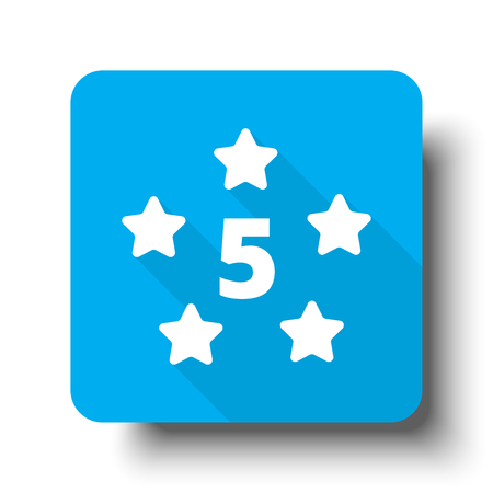 five star: White Five Star icon on blue web button