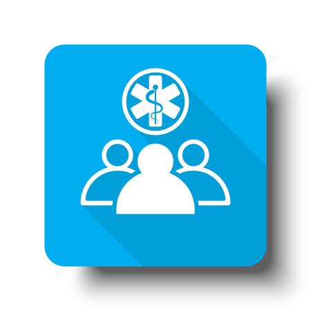 medical team: White Medical Team icon on blue web button Illustration