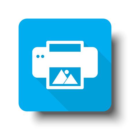White Photo Printing icon on blue web button