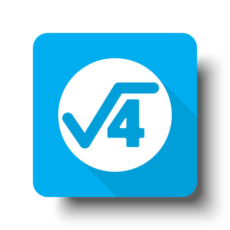 White Square Root icon on blue web button Illustration