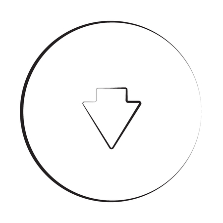 arrow down icon: Black ink style Arrow Down icon with circle