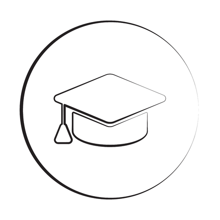 master degree: Black ink style Graduation Cap icon with circle