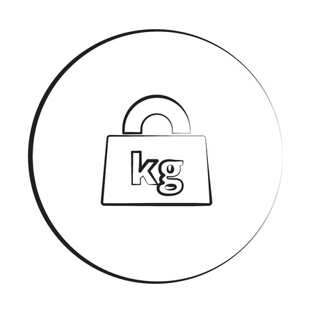 lbs: Black ink style Weight Kilograms icon with circle