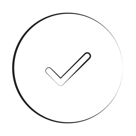confirm: Black ink style Confirm icon with circle