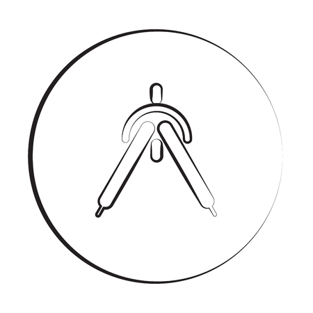 Black ink style Drafting Compass icon with circle