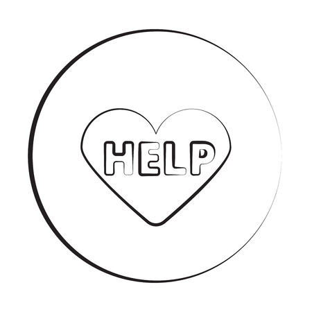 Black ink style Defibrillator  icon with circle Illustration