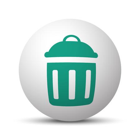 reusing: Green Delete icon on white sphere