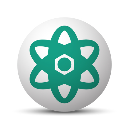 Green Nuclear icon on white sphere