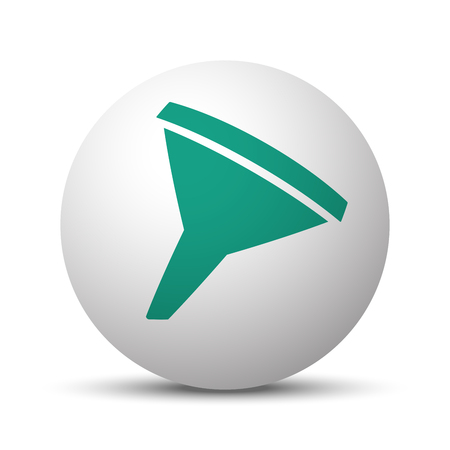 filtering: Green Funnel icon on white sphere Illustration