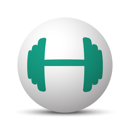 lifting globe: Green Dumbbell icon on white sphere