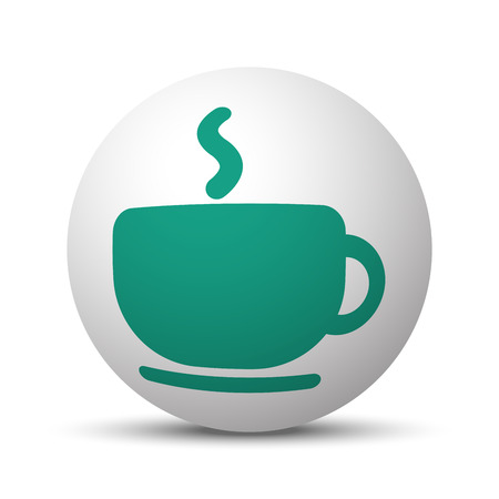Green Coffee icon on white sphere