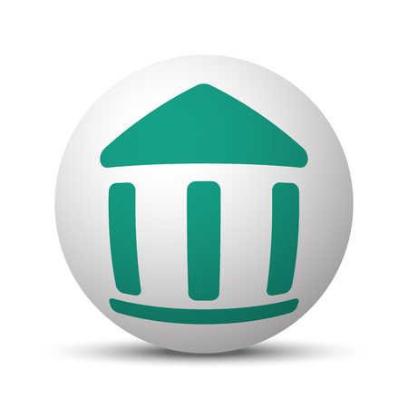 unused: Green Institution icon on white sphere Illustration