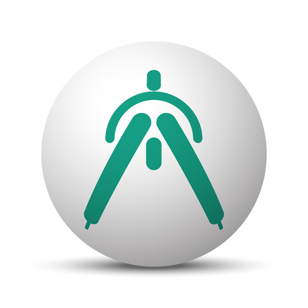drafting: Green Drafting Compass icon on white sphere Illustration