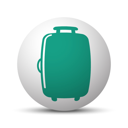 trolley case: Green Luggage icon on white sphere