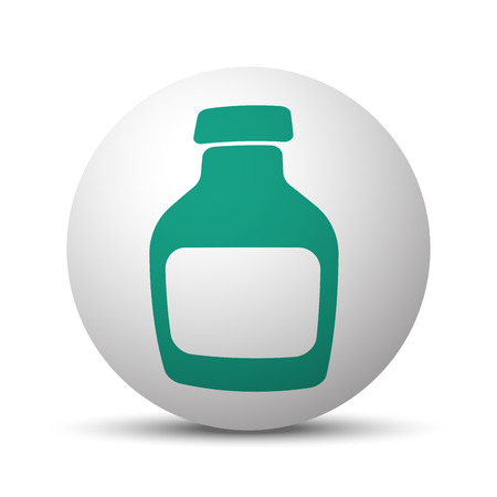 Green Medicine Bottle icon on white sphere Illustration