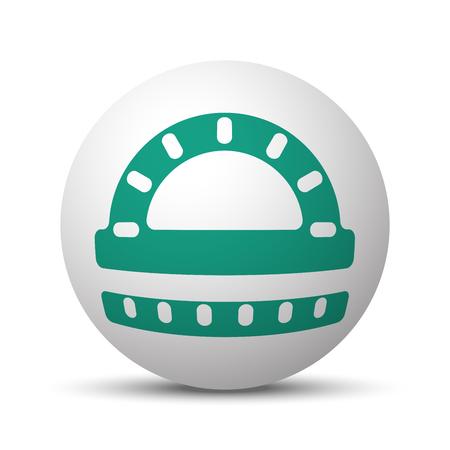 Green Protractor Ruler icon on white sphere Illustration